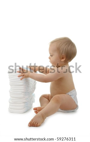 baby with nappy on white background - stock photo