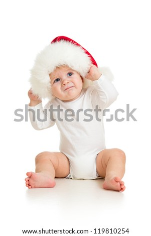 baby with Santa Claus hat - stock photo