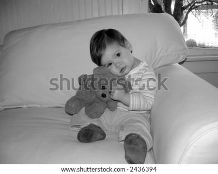 Baby with Teddy Bear - stock photo