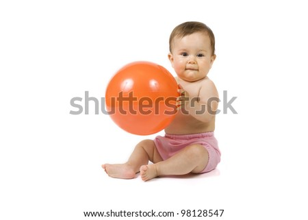 Baby with the orange ball on the white background