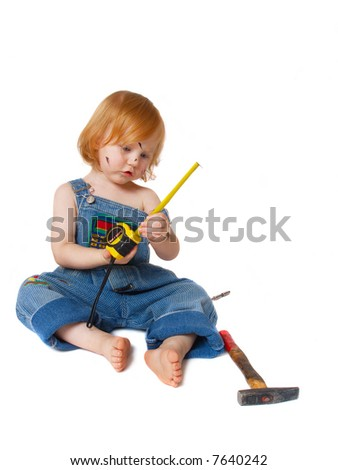 baby with tools isolated on white