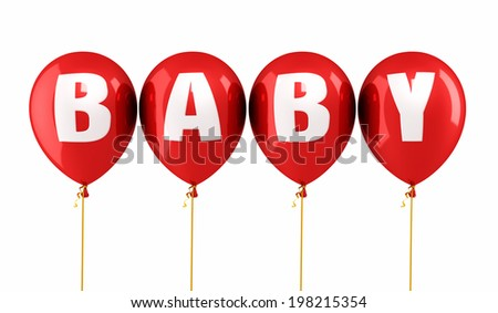 Baby Writing Red balloons render (isolated on white and clipping path) - stock photo