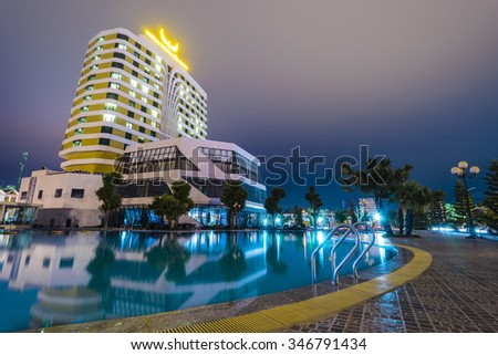 Bac Giang City, Bac Giang, Viet Nam. November 13 2015. Swimming pool at night in hotels Muong Thanh Bac Giang