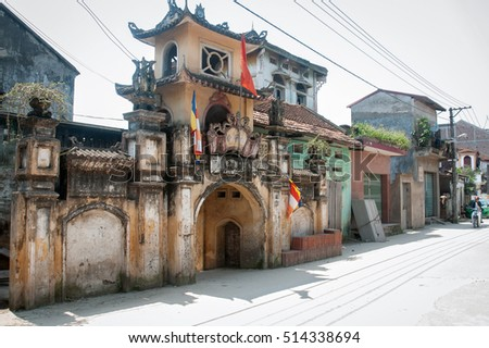 BAC GIANG, VIETNAM, June 18, 2016, ancient temples, village areas, the rural areas in Bac Giang Province, Vietnam