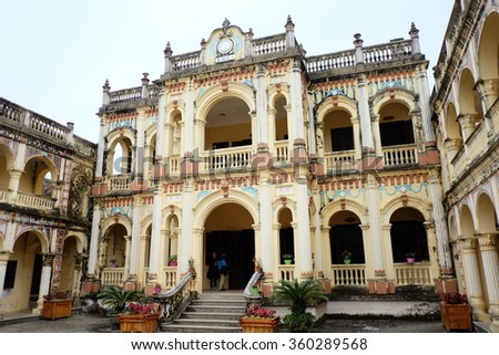 BAC HA DISTRICT, LAO CAI PROVINCE, VIETNAM - JANUARY, 2016 : Hoang A Tuong King Palace (Cat King Palace) was completed in 1921, in the style of Asia - Europe with closed rectangular layouts.