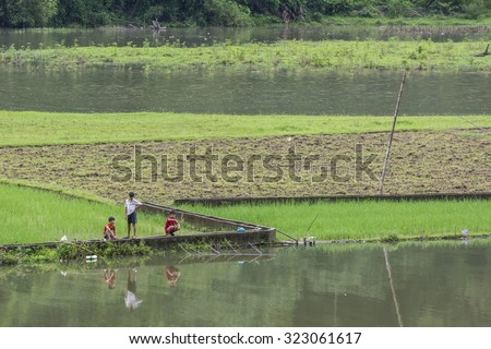 Bac Kan ,Vietnam-September 22,2015 : Life of Vietnamese people living in Ba Be lake National Park, Bac Kan north vietnam.