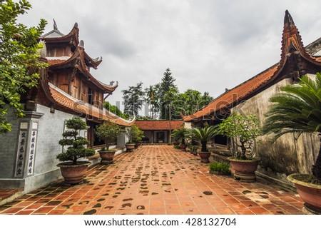 BAC NINH, VIETNAM - JULY 25, 2015 - But Thap pagoda, a grandiose architecture representing high spiritual values of human life