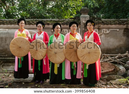 BAC Ninh, Vietnam, March 15, 2016 group of young women, traditional dress, the Bac Ninh, Vietnam