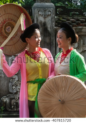 BAC Ninh, Vietnam, March 15, 2016 two girls, traditional costumes, the Bac Ninh province, Vietnam
