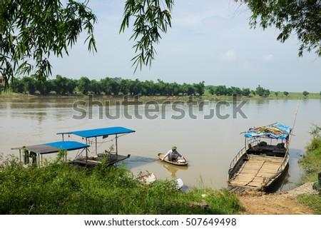 Bac Ninh, Vietnam - May 29, 2016: Transportation ferry station on Cau river bank