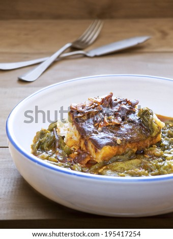 Bacalao a la Llauna, Barcelona cookery. - stock photo