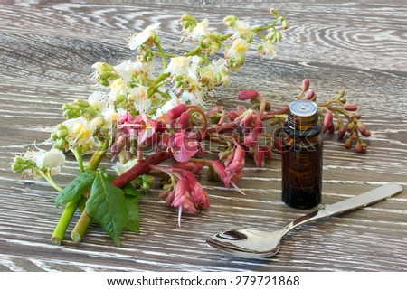 Bach flower remedies with white and red chestnut on wooden background - stock photo