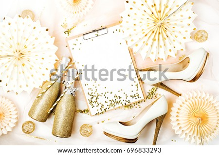Bachelorette Party Planner Clipboard Mockup And Female Shoes With Golden Decorations Flat Lay