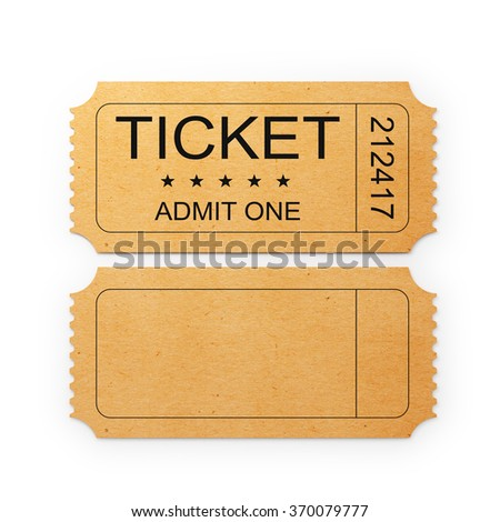 Back and front sides of a general admission ticket. The ticket is yellow in colour. It has a kraft paper like  look and a retro style. It is isolated on white background. Clipping path is included.