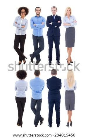 back and front view of young business people isolated on white background - stock photo