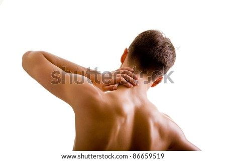 back and shoulder naked male body (an athlete)