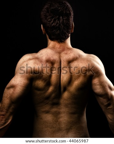 Back and Shoulders Male Muscles - stock photo