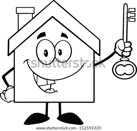 Back And White House Cartoon Character Holding Up A Key. Raster Illustration - stock photo