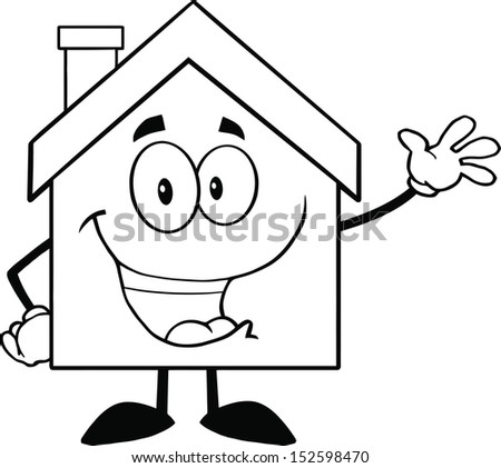 Back And White House Cartoon Mascot Character Waving For Greeting. Raster Illustration - stock photo