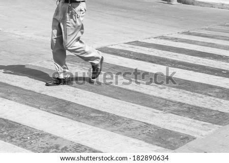 Back and White zebra crossing - stock photo