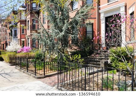 Back Bay Boston, garden details - stock photo
