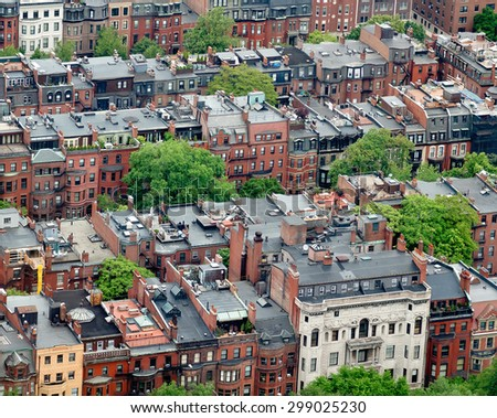 Back Bay brownstone homes in Boston. - stock photo