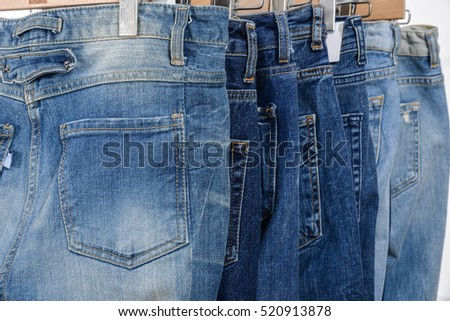 Back Blue jeans on a hanger