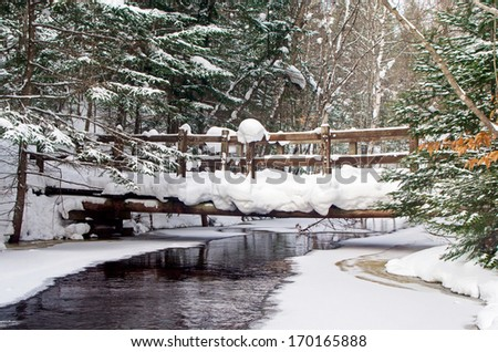 Back-country foot bridge crossing Sable Creek in the Pictured Rocks National Lakeshore. - stock photo