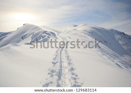 Back country ski tracks in scenic winter mountainscape with candid slope covered by thick powder snow and direct sunlight softened by the clouds (highlight slightly blown out). - stock photo