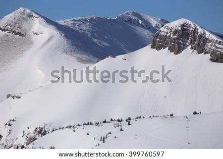 Back country skiing Teton Mountains, Wyoming