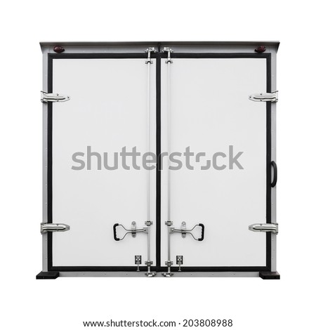 Back doors of new white cargo truck isolated on white - stock photo
