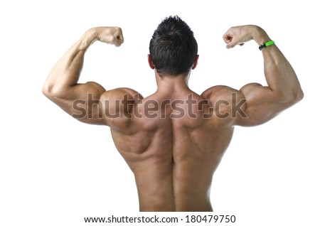 Back double biceps pose by young bodybuilder. Isolated on white background - stock photo
