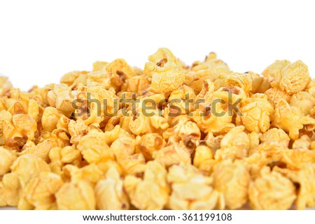 back focus Popcorn  isolated on white background