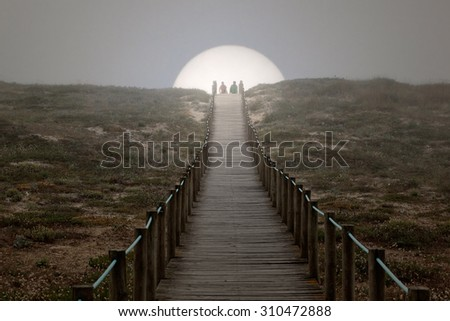 Back from the beach at sunset or end of holidays. Portuguese coast dune. - stock photo