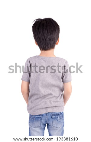 Back grey T-shirt on a boy, isolated on white background