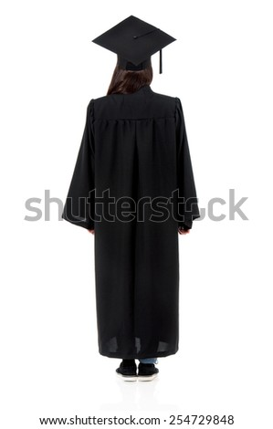 Back mantle graduate student girl, isolated on white background - stock photo