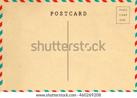 Back of airmail blank postcard template
