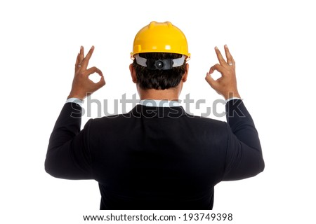 Back of Asian engineer man show OK sign with both hand isolated on white background