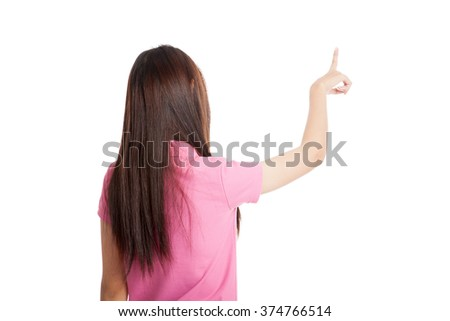 Back of Asian girl use her  finger  touch screen  isolated on white background - stock photo