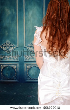 back of bride with blue wood wall