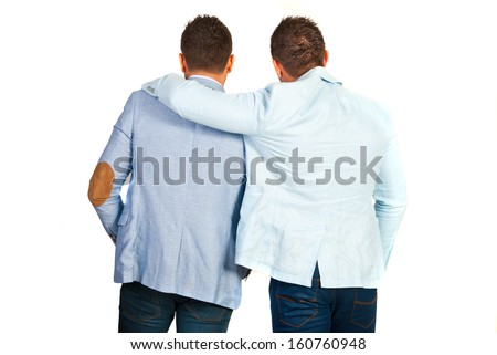 Back of business man friends standing in embrace isolated on white background