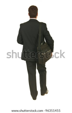 Back of business man going to work isolated on white background - stock photo