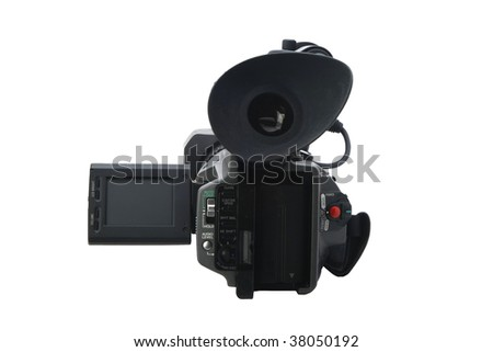 back of camcorder isolated on white