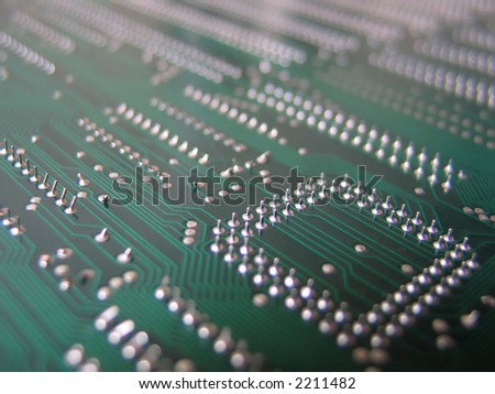 back of computer mainboard, shallow DoF