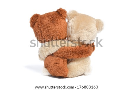 Back of couple of hugging teddy bears. Isolated on white background. - stock photo