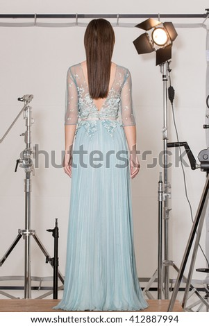 Back of elegant and fashionable outfit for evening events or ceremony - stock photo