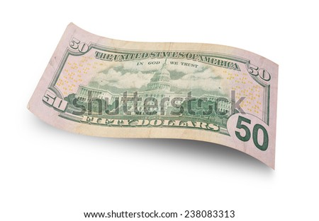 Back of fifty dollar banknote isolated on white background