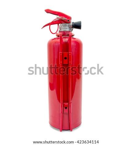Back of fire extinguisher isolated on white background - stock photo