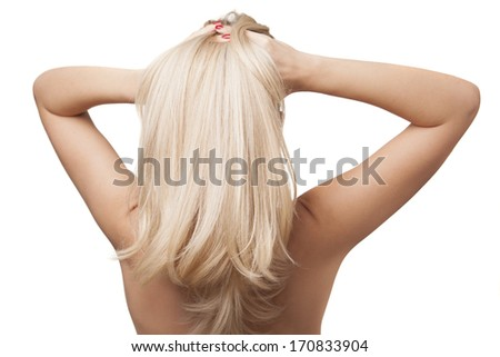back of girl with beautiful long blonde hair - stock photo