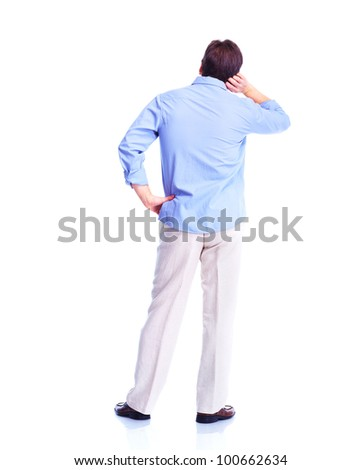 Back of man. Isolated over white background.